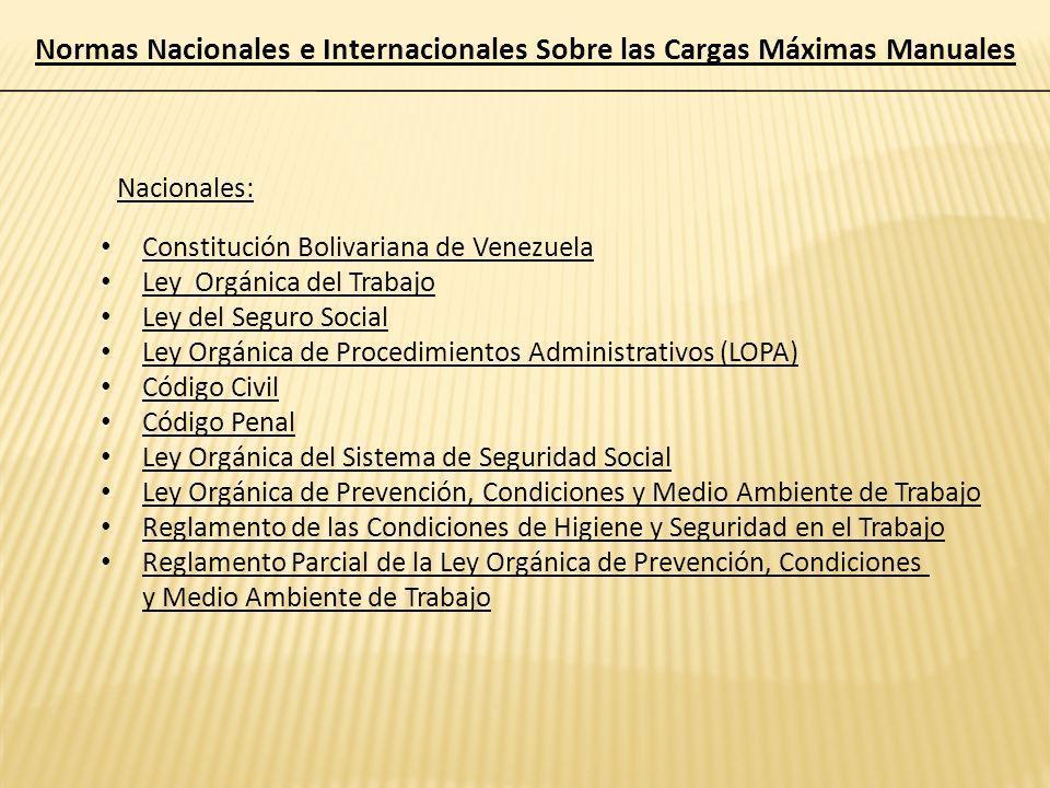 Normas Nacionales e Internacionales Sobre las Cargas Máximas Manuales Nacionales: Constitución Bolivariana de Venezuela Ley Orgánica del Trabajo Ley d