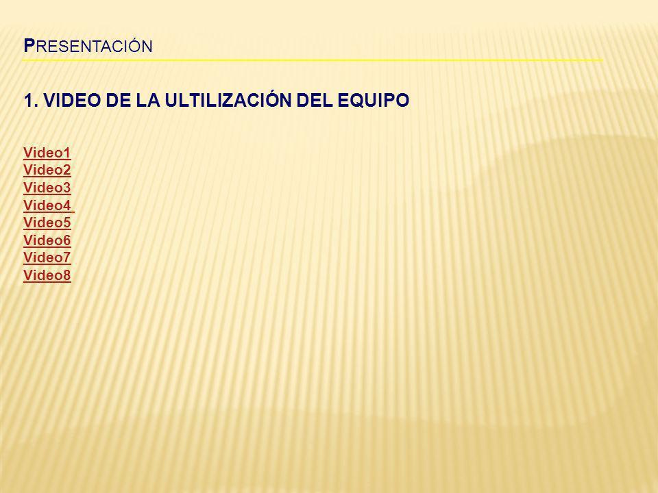 1. VIDEO DE LA ULTILIZACIÓN DEL EQUIPO P RESENTACIÓN Video1 Video2 Video3 Video4 Video5 Video6 Video7 Video8