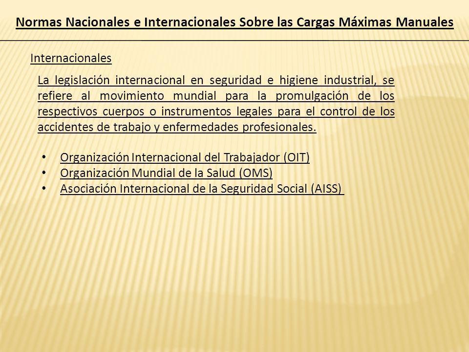 Normas Nacionales e Internacionales Sobre las Cargas Máximas Manuales Internacionales La legislación internacional en seguridad e higiene industrial,