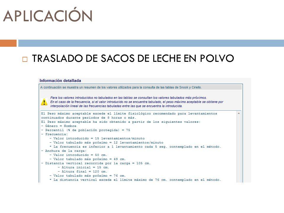APLICACIÓN TRASLADO DE SACOS DE LECHE EN POLVO