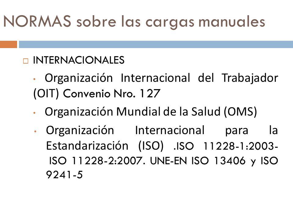 NORMAS sobre las cargas manuales INTERNACIONALES Organización Internacional del Trabajador (OIT) Convenio Nro. 127 Organización Mundial de la Salud (O