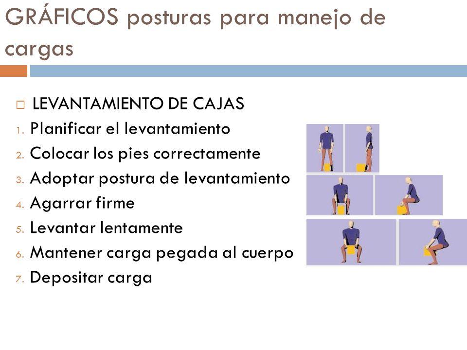 GRÁFICOS posturas para manejo de cargas LEVANTAMIENTO DE CAJAS 1. Planificar el levantamiento 2. Colocar los pies correctamente 3. Adoptar postura de