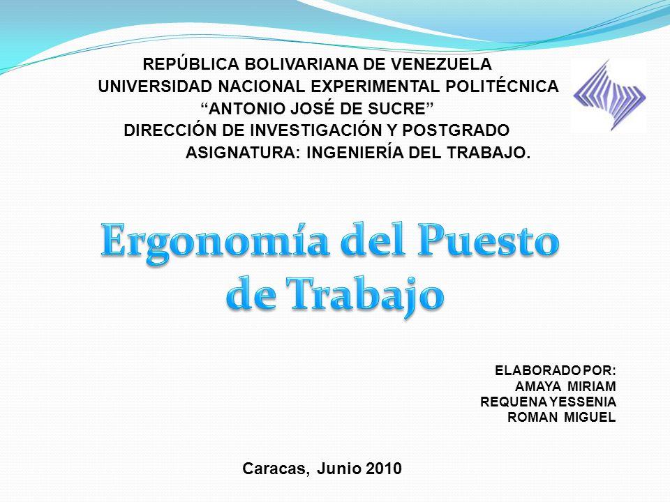 REPÚBLICA BOLIVARIANA DE VENEZUELA UNIVERSIDAD NACIONAL EXPERIMENTAL POLITÉCNICA ANTONIO JOSÉ DE SUCRE DIRECCIÓN DE INVESTIGACIÓN Y POSTGRADO ASIGNATU