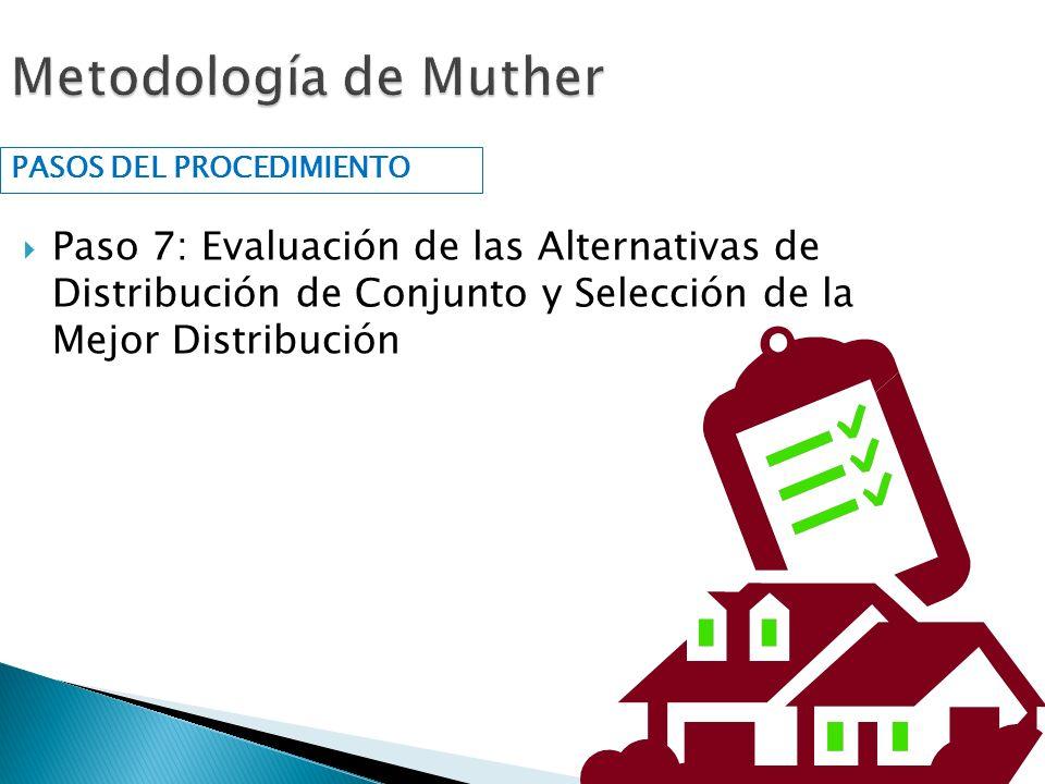 Paso 7: Evaluación de las Alternativas de Distribución de Conjunto y Selección de la Mejor Distribución PASOS DEL PROCEDIMIENTO