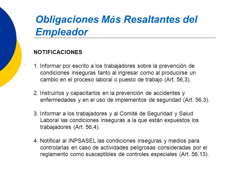 Obligaciones M á s Resaltantes del Empleador NOTIFICACIONES 1. Informar por escrito a los trabajadores sobre la prevención de condiciones inseguras ta