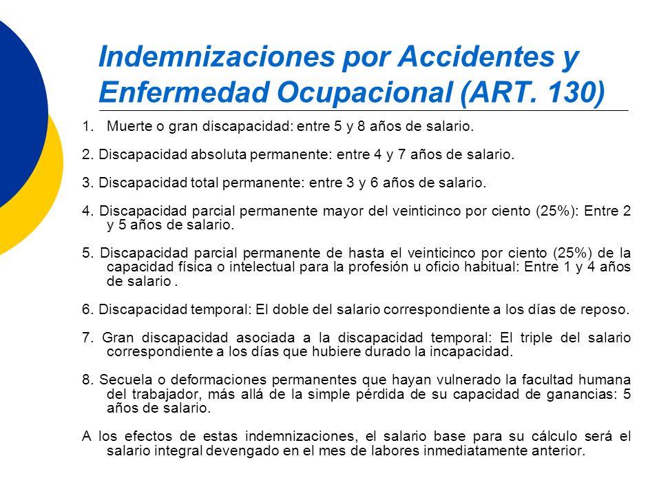 Indemnizaciones por Accidentes y Enfermedad Ocupacional (ART. 130) 1.Muerte o gran discapacidad: entre 5 y 8 años de salario. 2. Discapacidad absoluta