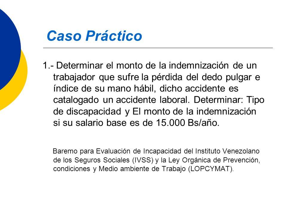 Caso Práctico 1.- Determinar el monto de la indemnización de un trabajador que sufre la pérdida del dedo pulgar e índice de su mano hábil, dicho accid