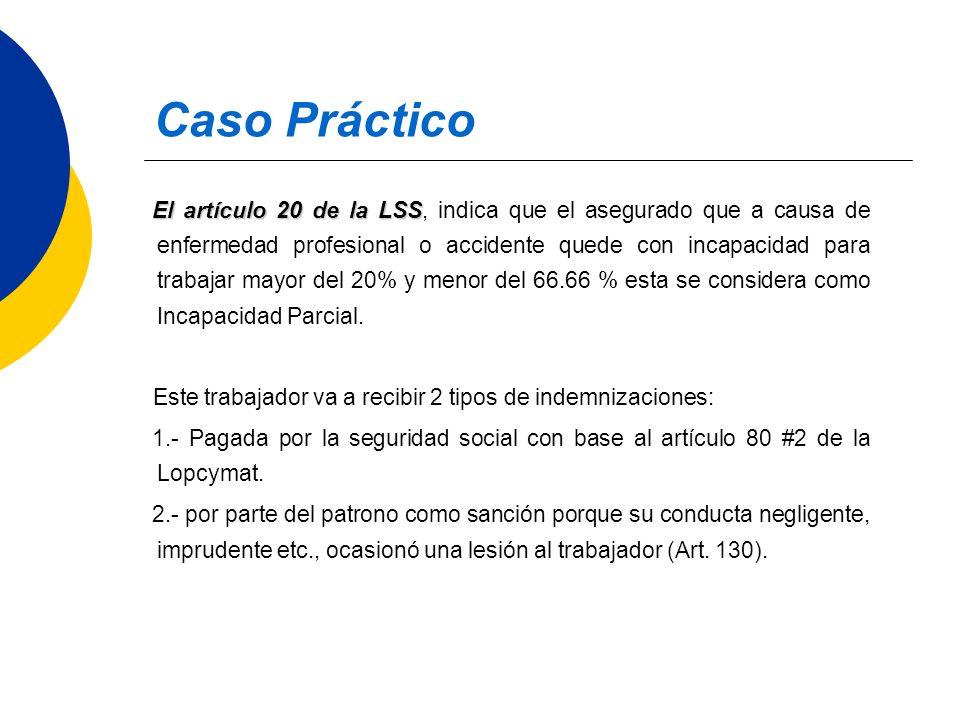 Caso Práctico El artículo 20 de la LSS El artículo 20 de la LSS, indica que el asegurado que a causa de enfermedad profesional o accidente quede con i