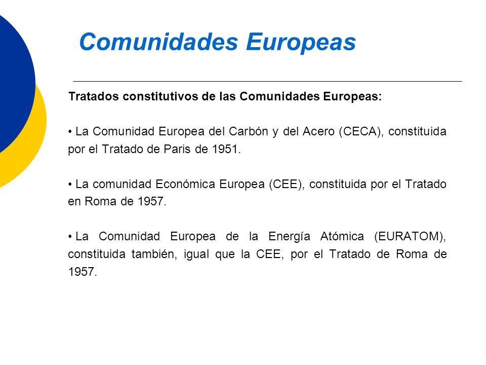 Tratados constitutivos de las Comunidades Europeas: La Comunidad Europea del Carbón y del Acero (CECA), constituida por el Tratado de Paris de 1951. L