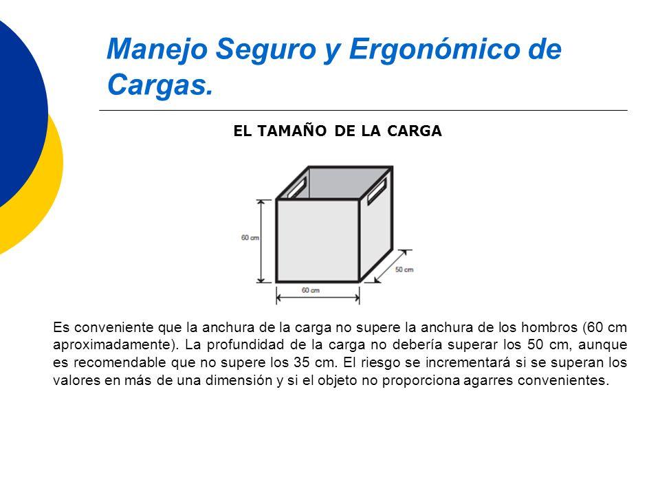 Manejo Seguro y Ergonómico de Cargas. EL TAMAÑO DE LA CARGA Es conveniente que la anchura de la carga no supere la anchura de los hombros (60 cm aprox