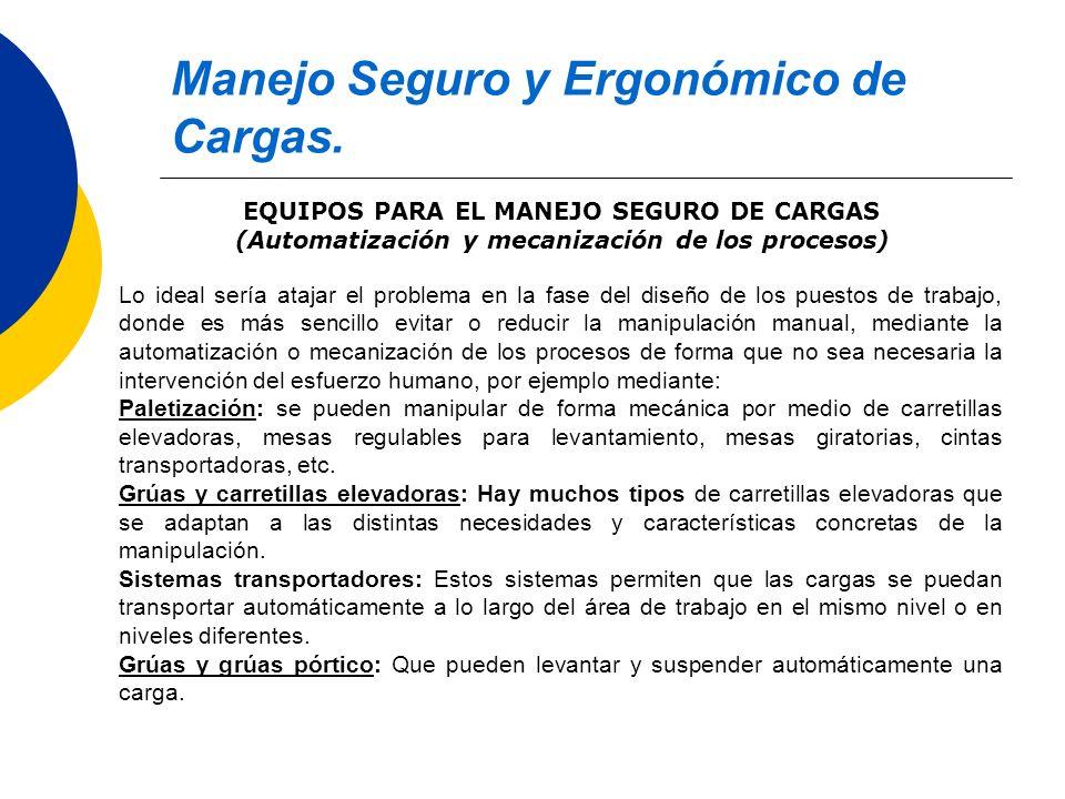 Manejo Seguro y Ergonómico de Cargas. EQUIPOS PARA EL MANEJO SEGURO DE CARGAS (Automatización y mecanización de los procesos) Lo ideal sería atajar el