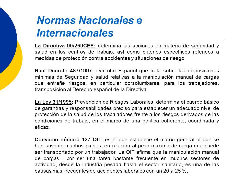 Normas Nacionales e Internacionales La Directiva 90/269CEE: determina las acciones en materia de seguridad y salud en los centros de trabajo, así como