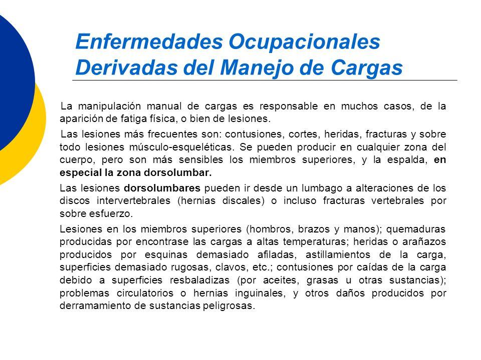 Enfermedades Ocupacionales Derivadas del Manejo de Cargas La manipulación manual de cargas es responsable en muchos casos, de la aparición de fatiga f