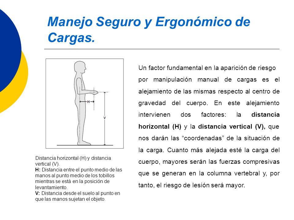 Manejo Seguro y Ergonómico de Cargas. Distancia horizontal (H) y distancia vertical (V). H: Distancia entre el punto medio de las manos al punto medio