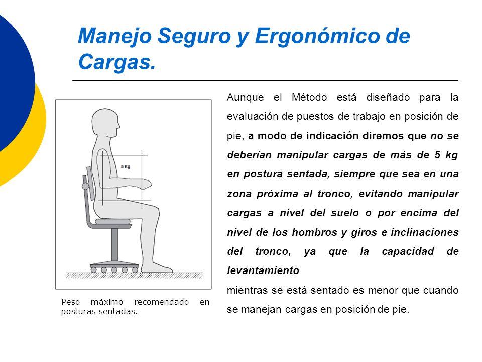 Manejo Seguro y Ergonómico de Cargas. Peso máximo recomendado en posturas sentadas. Aunque el Método está diseñado para la evaluación de puestos de tr