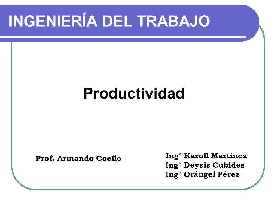 Productividad Prof. Armando Coello INGENIERÍA DEL TRABAJO Ing° Karoll Martínez Ing° Deysis Cubides Ing° Orángel Pérez