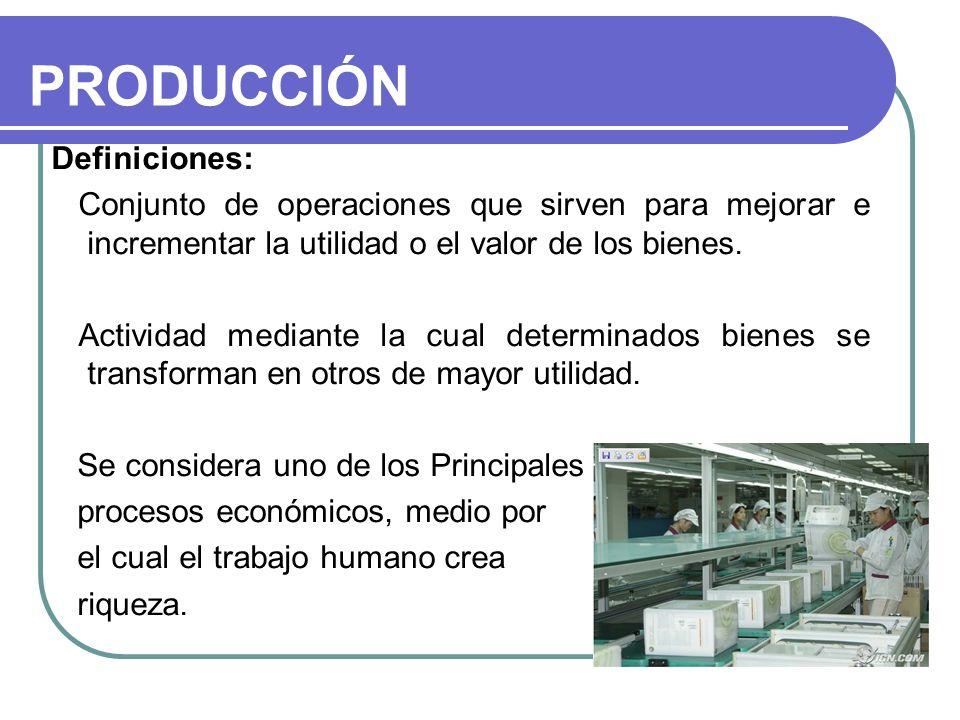 PRODUCCIÓN Definiciones: Conjunto de operaciones que sirven para mejorar e incrementar la utilidad o el valor de los bienes. Actividad mediante la cua