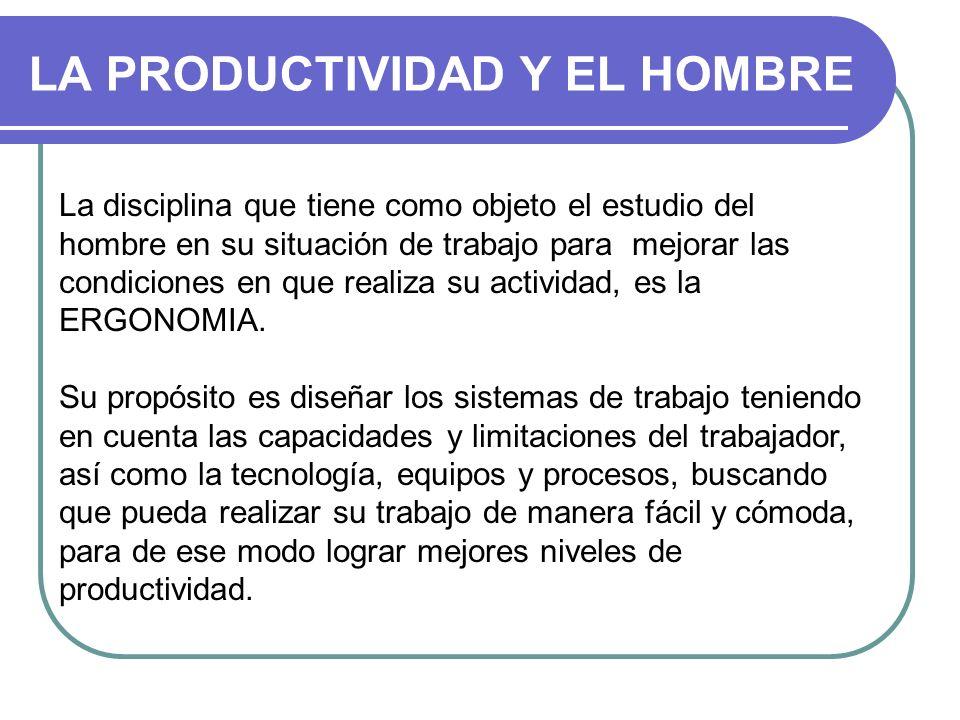 LA PRODUCTIVIDAD Y EL HOMBRE La disciplina que tiene como objeto el estudio del hombre en su situación de trabajo para mejorar las condiciones en que