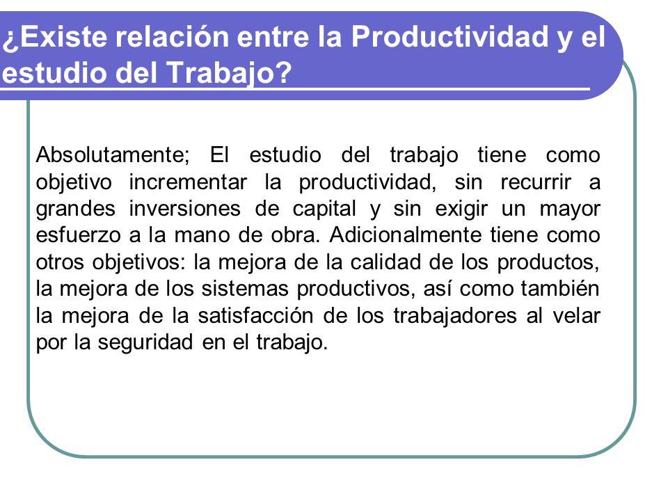 ¿Existe relación entre la Productividad y el estudio del Trabajo? Absolutamente; El estudio del trabajo tiene como objetivo incrementar la productivid