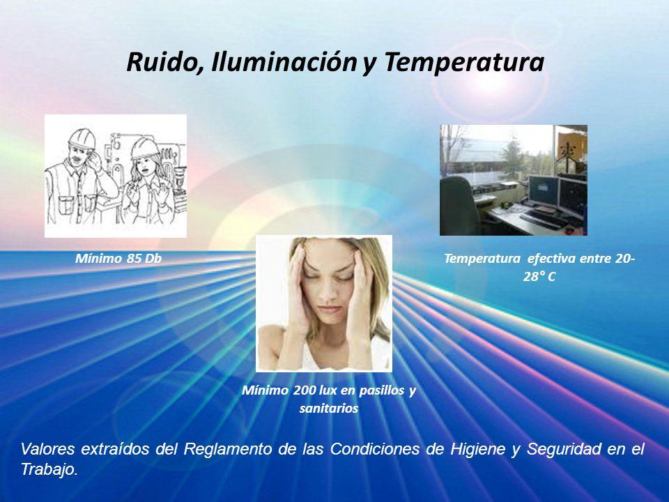 Ruido, Iluminación y Temperatura Valores extraídos del Reglamento de las Condiciones de Higiene y Seguridad en el Trabajo. Temperatura efectiva entre