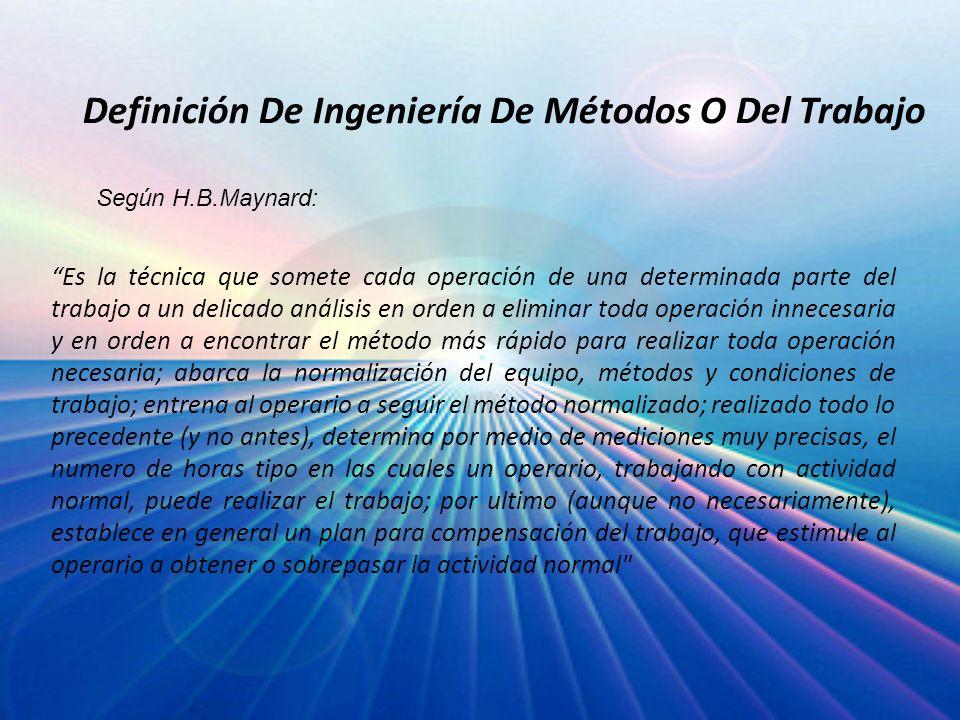 Desarrollo de un centro de trabajo Obtención de los hechos Presentación de los hechos Efectuar un análisis Desarrollo del método ideal Presentación del método Implantación del método Desarrollo de un análisis de trabajo Establecimiento de estándares de tiempo Seguimiento del método