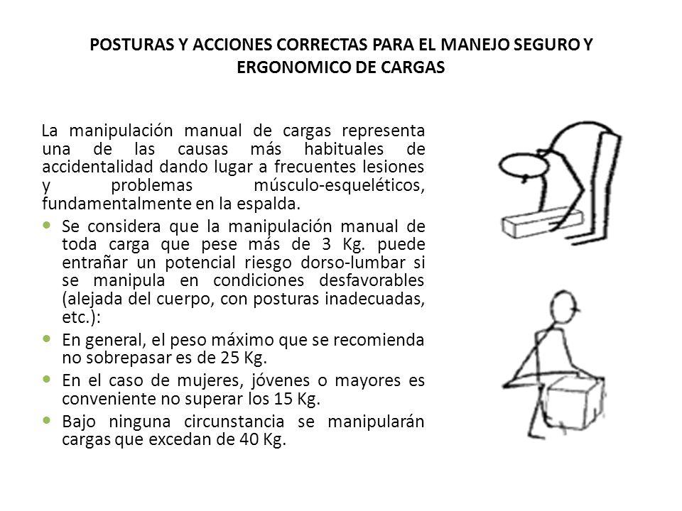 POSTURAS Y ACCIONES CORRECTAS PARA EL MANEJO SEGURO Y ERGONOMICO DE CARGAS La manipulación manual de cargas representa una de las causas más habituale