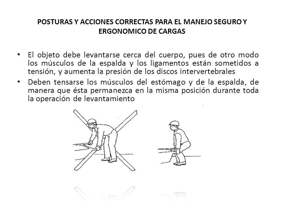 POSTURAS Y ACCIONES CORRECTAS PARA EL MANEJO SEGURO Y ERGONOMICO DE CARGAS El objeto debe levantarse cerca del cuerpo, pues de otro modo los músculos