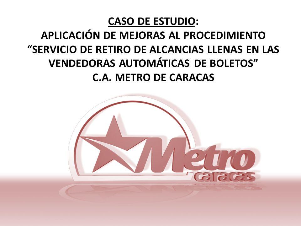 CASO DE ESTUDIO: APLICACIÓN DE MEJORAS AL PROCEDIMIENTO SERVICIO DE RETIRO DE ALCANCIAS LLENAS EN LAS VENDEDORAS AUTOMÁTICAS DE BOLETOS C.A. METRO DE