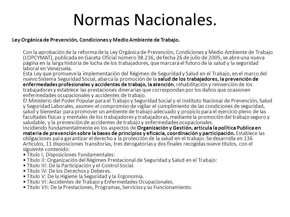Normas Nacionales. Ley Orgánica de Prevención, Condiciones y Medio Ambiente de Trabajo. Con la aprobación de la reforma de la Ley Orgánica de Prevenci