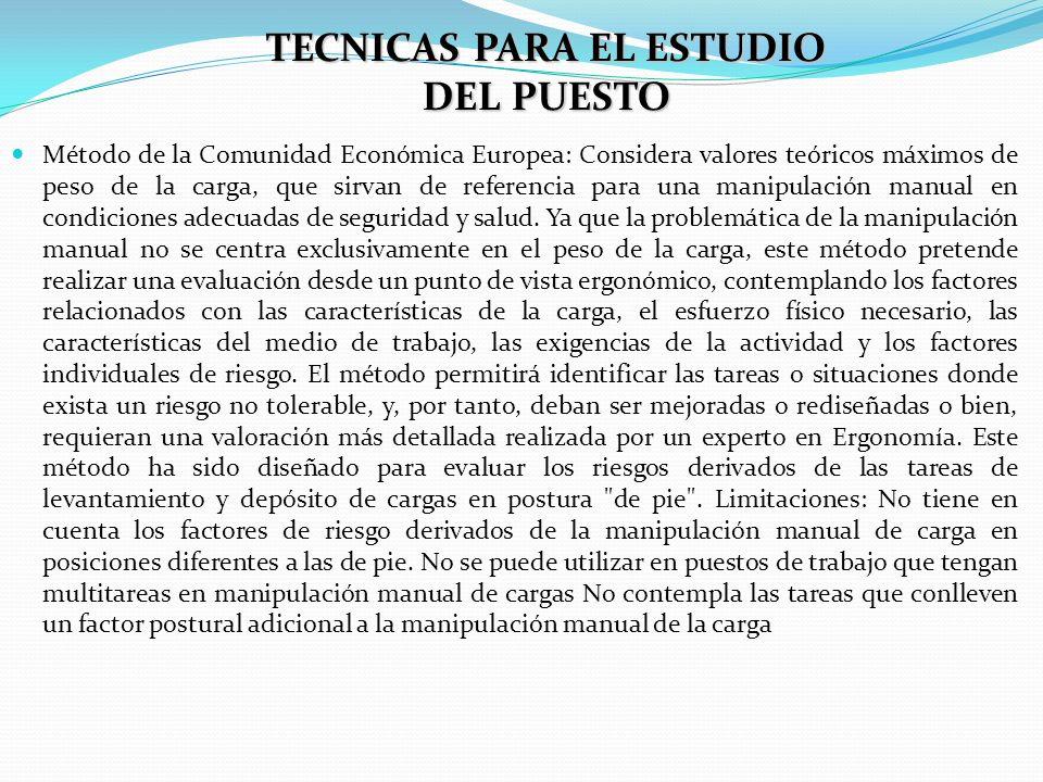 TECNICAS PARA EL ESTUDIO DEL PUESTO Método de la Comunidad Económica Europea: Considera valores teóricos máximos de peso de la carga, que sirvan de re