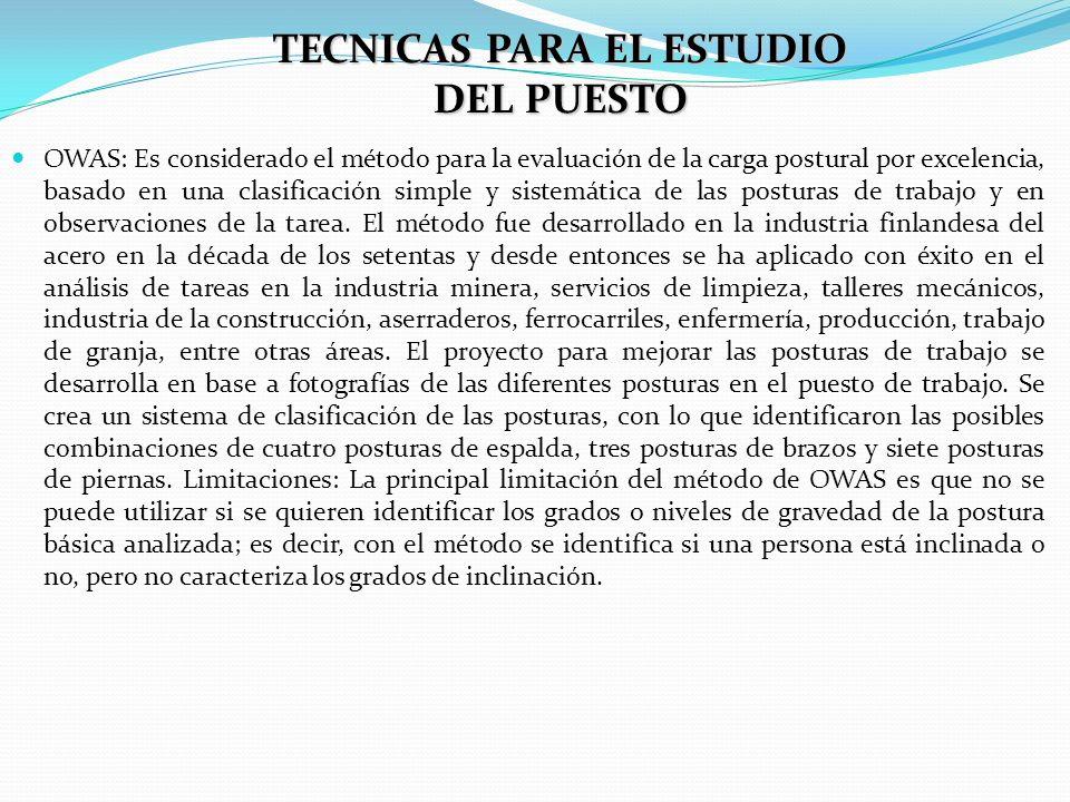 TECNICAS PARA EL ESTUDIO DEL PUESTO OWAS: Es considerado el método para la evaluación de la carga postural por excelencia, basado en una clasificación