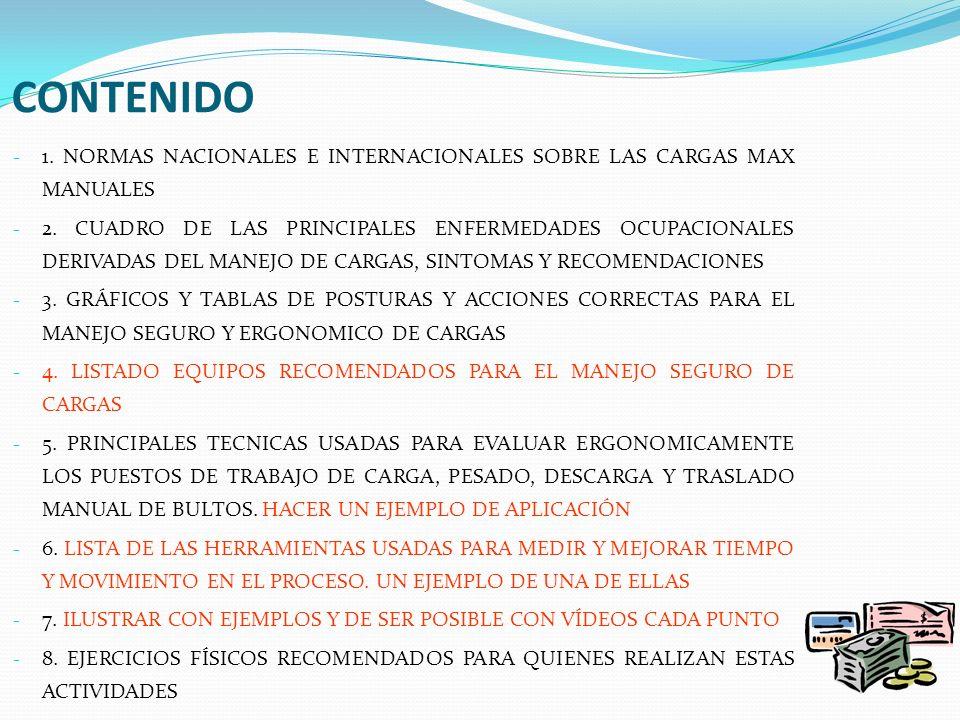 CONTENIDO - 1. NORMAS NACIONALES E INTERNACIONALES SOBRE LAS CARGAS MAX MANUALES - 2. CUADRO DE LAS PRINCIPALES ENFERMEDADES OCUPACIONALES DERIVADAS D