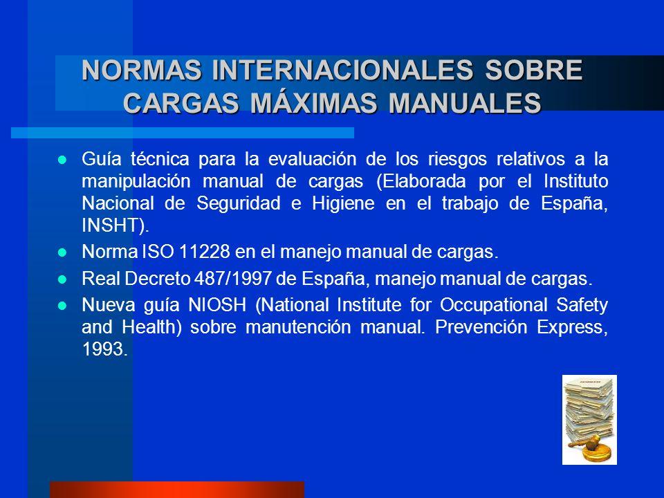 NORMAS INTERNACIONALES SOBRE CARGAS MÁXIMAS MANUALES Guía técnica para la evaluación de los riesgos relativos a la manipulación manual de cargas (Elaborada por el Instituto Nacional de Seguridad e Higiene en el trabajo de España, INSHT).