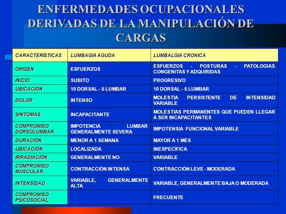 CARACTERÍSTICAS LUMBAGIA AGUDA LUMBALGIA CRONICA ORIGENESFUERZOS ESFUERZOS - POSTURAS - PATOLOGIAS CONGENITAS Y ADQUIRIDAS INICIOSUBITOPROGRESIVO UBICACIÓN10 DORSAL - 5 LUMBAR DOLORINTENSO MOLESTIA PERSISTENTE DE INTENSIDAD VARIABLE SINTOMASINCAPACITANTE MOLESTIAS PERMANENTES QUE PUEDEN LLEGAR A SER INCAPACITANTES COMPROMISO DORSOLUMBAR IMPOTENCIA LUMBAR GENERALMENTE SEVERA IMPOTENSIA FUNCIONAL VARIABLE DURACIÓNMENOR A 1 SEMANAMAYOR A 1 MES UBICACIÓNLOCALIZADAINESPECÍFICA IRRADIACIÓNGENERALMENTE NOVARIABLE COMPROMISO MUSCULAR CONTRACCIÓN INTENSACONTRACCIÓN LEVE - MODERADA INTENSIDAD VARIABLE, GENERALMENTE ALTA VARIABLE, GENERALMENTE BAJA O MODERADA COMPROMISO PSICOSOCIAL FRECUENTE ENFERMEDADES OCUPACIONALES DERIVADAS DE LA MANIPULACIÓN DE CARGAS