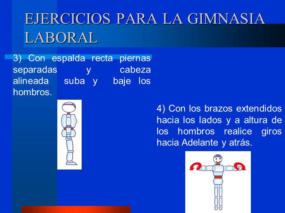 EJERCICIOS PARA LA GIMNASIA LABORAL 3) Con espalda recta piernas separadas y cabeza alineada suba y baje los hombros.