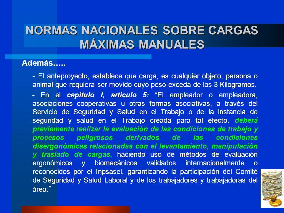 NORMAS NACIONALES SOBRE CARGAS MÁXIMAS MANUALES Además…..