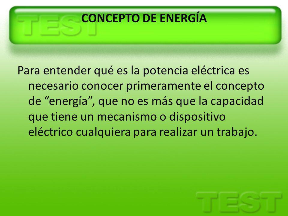 POTENCIA ELÉCTRICA Potencia es la velocidad a la que se consume la energía.