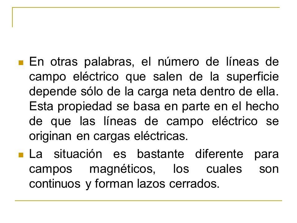 En otras palabras, el número de líneas de campo eléctrico que salen de la superficie depende sólo de la carga neta dentro de ella. Esta propiedad se b