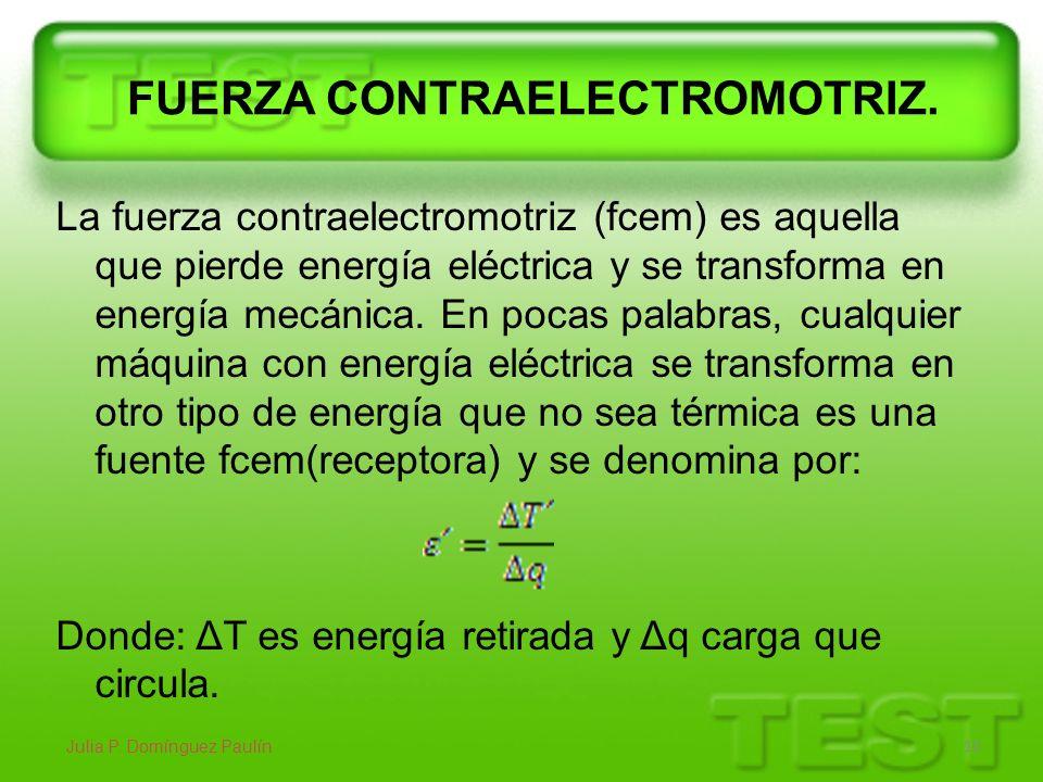 FUERZA CONTRAELECTROMOTRIZ. La fuerza contraelectromotriz (fcem) es aquella que pierde energía eléctrica y se transforma en energía mecánica. En pocas