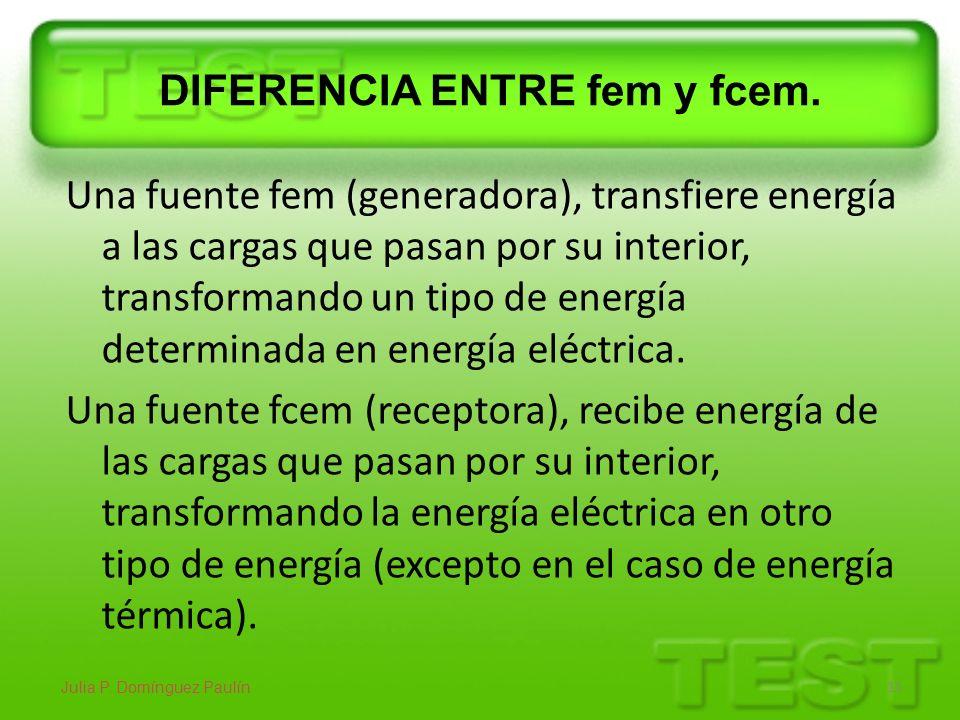 DIFERENCIA ENTRE fem y fcem. Una fuente fem (generadora), transfiere energía a las cargas que pasan por su interior, transformando un tipo de energía