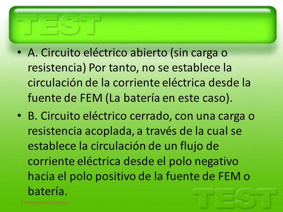 A. Circuito eléctrico abierto (sin carga o resistencia) Por tanto, no se establece la circulación de la corriente eléctrica desde la fuente de FEM (La