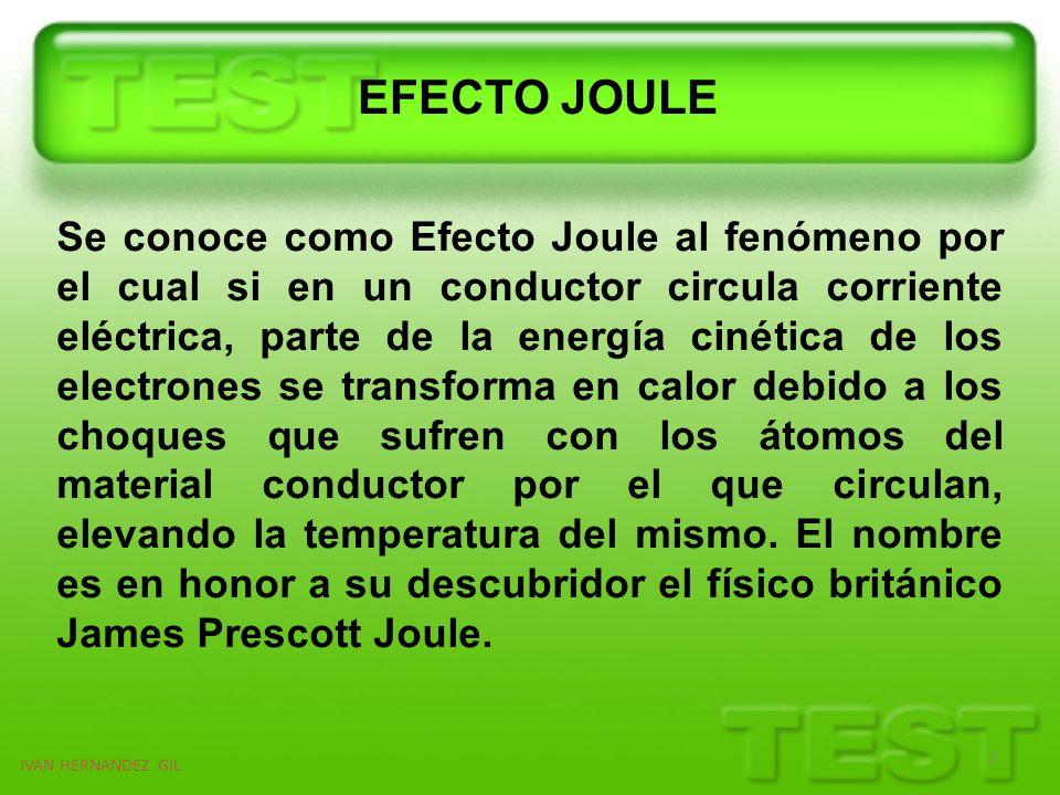 EFECTO JOULE 2 IVAN HERNANDEZ GIL Se conoce como Efecto Joule al fenómeno por el cual si en un conductor circula corriente eléctrica, parte de la ener