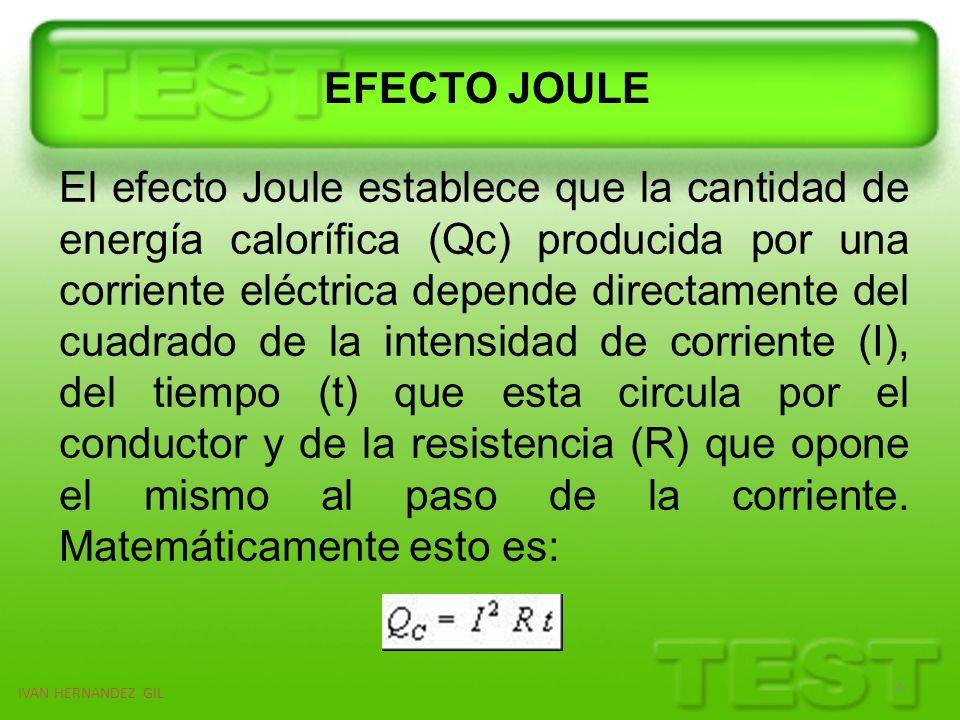 IVAN HERNANDEZ GIL 5 Este efecto fue definido de la siguiente manera: La cantidad de energía calorífica producida por una corriente eléctrica, depende directamente del cuadrado de la intensidad de la corriente, del tiempo que ésta circula por el conductor y de la resistencia que opone el mismo al paso de la corriente .