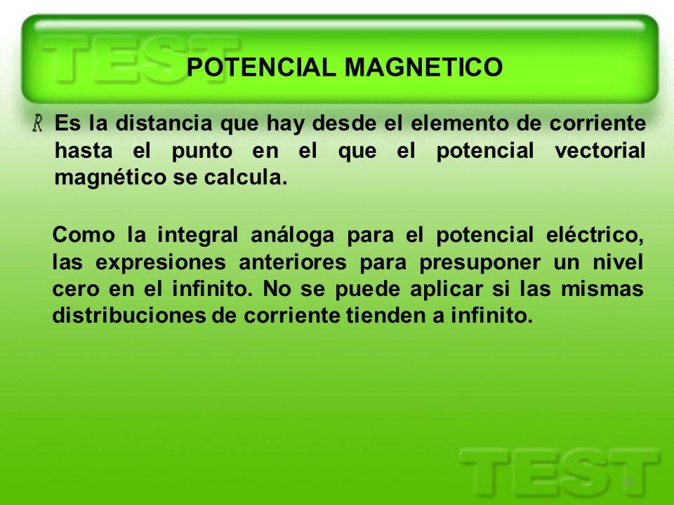 10 Es la distancia que hay desde el elemento de corriente hasta el punto en el que el potencial vectorial magnético se calcula. Como la integral análo