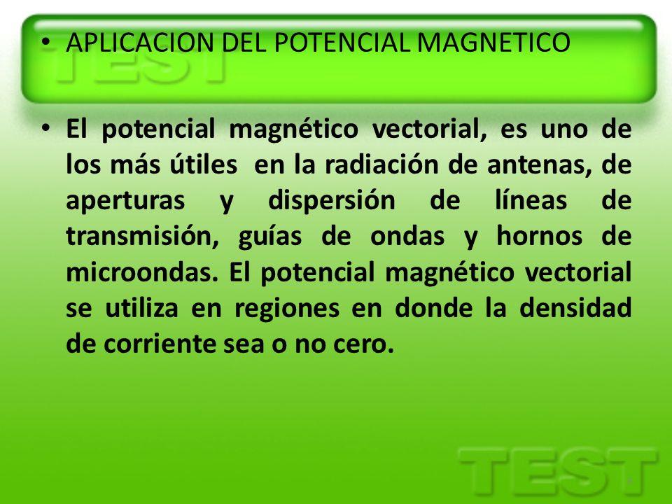 APLICACION DEL POTENCIAL MAGNETICO El potencial magnético vectorial, es uno de los más útiles en la radiación de antenas, de aperturas y dispersión de