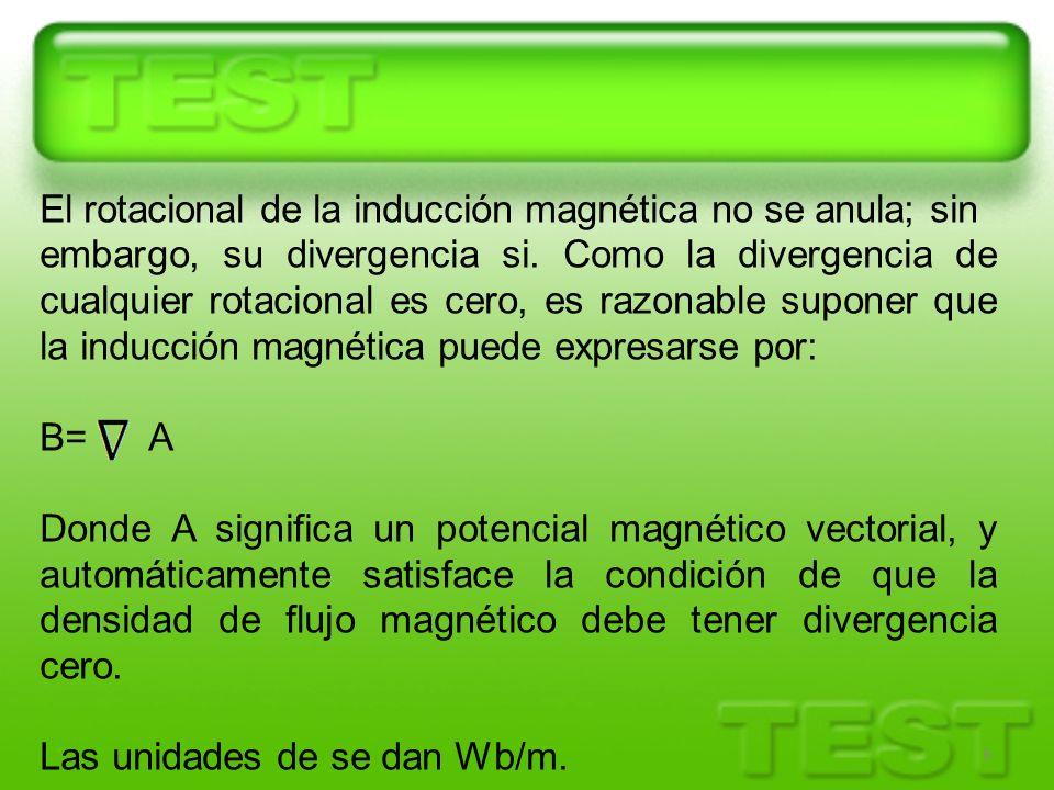 6 El rotacional de la inducción magnética no se anula; sin embargo, su divergencia si. Como la divergencia de cualquier rotacional es cero, es razonab