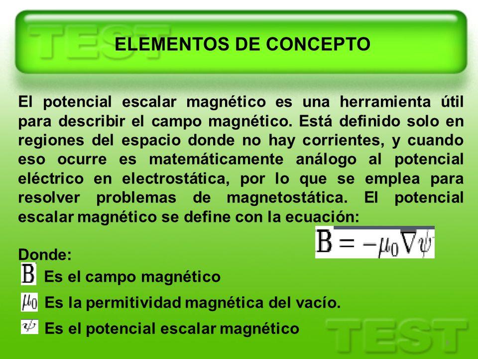 8 El potencial escalar magnético es una herramienta útil para describir el campo magnético. Está definido solo en regiones del espacio donde no hay co