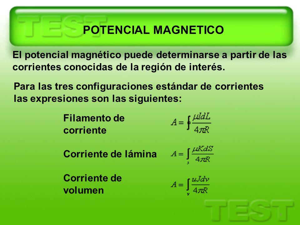 9 POTENCIAL MAGNETICO El potencial magnético puede determinarse a partir de las corrientes conocidas de la región de interés. Para las tres configurac