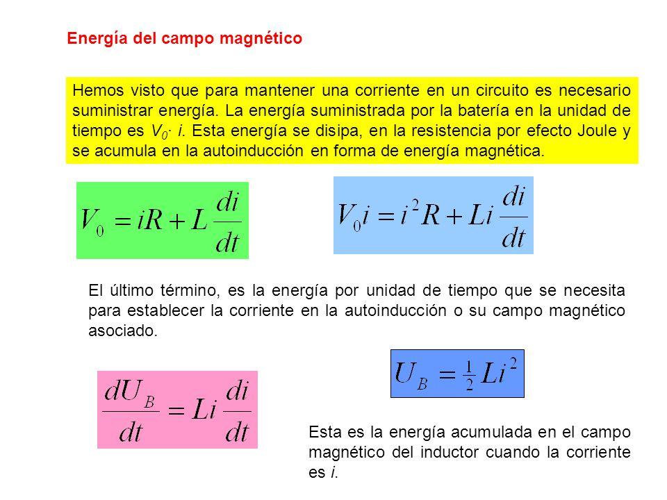 Energía del campo magnético Hemos visto que para mantener una corriente en un circuito es necesario suministrar energía. La energía suministrada por l