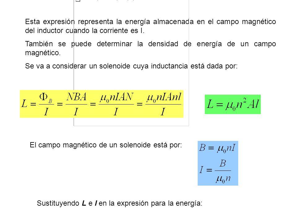 Esta expresión representa la energía almacenada en el campo magnético del inductor cuando la corriente es I. También se puede determinar la densidad d